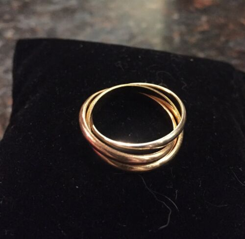 18K Yellow White Rose Gold Trinity Ring Size 6 - $375.00