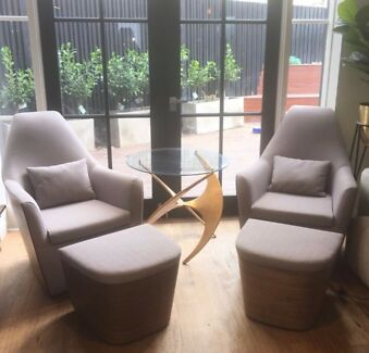 Matt Blatt Arm Chairs with matching ottomans