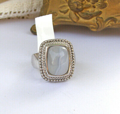 - Sterling Silver Artisan Crafted SAI Pale Blue Agate Braid Design Ring 6.5 7 NEW