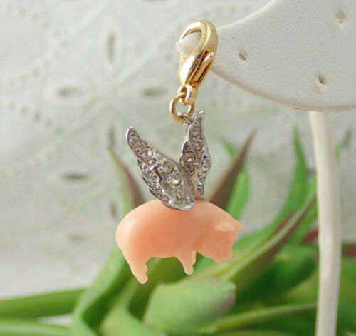 Very Rare KJL Kenneth Jay Lane Signed When Pigs Fly Crystal Pink Resin Charm