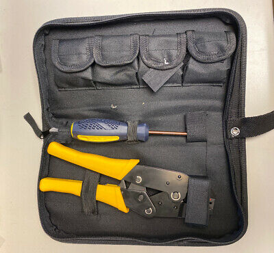 Portable Crimping Tool Kits Cable Wire Ratchet W 5 Changeable Die In Oxford Bag