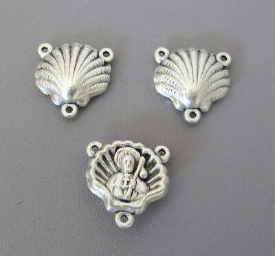 3 pc SHELL St. Saint James Rosary Centers ITALY Rosaries Centerpiece T119 SILVER