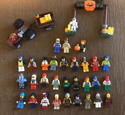 LEGO HALLOWEEN HAYRIDE AND 30 MINIFIGURE LOT (HARRY POTTER, BATMAN, CITY)