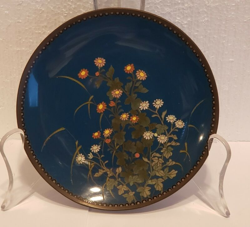 """19th C. Chinese Cloisonne on Bronze 6"""" Floral Charger, Meiji Period SIGNED"""