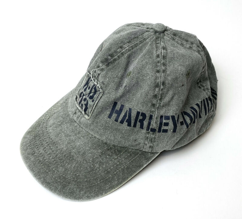 Harley Davidson Mens Distressed Baseball Hat Cap Gray Weathered Look Adjustable