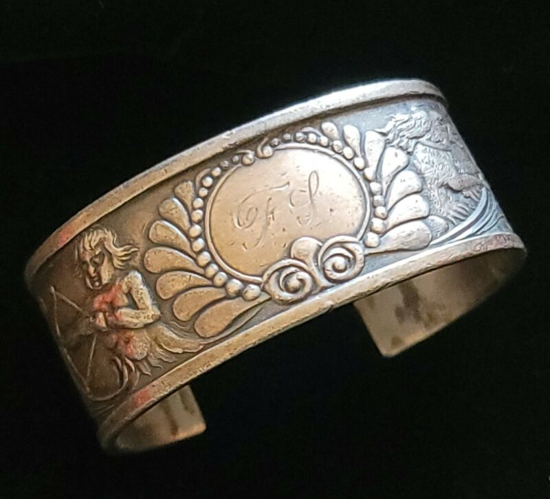 Victorian Small Cuff Bracelet Cupid Dog Engraved FS Silverplate