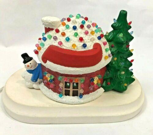 Vintage Scarlatella Ceramic Igloo Light-Up Musical Christmas House Snowman