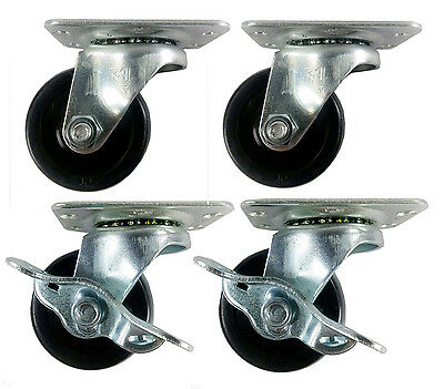 2 Hard Rubber Wheel Caster - 2 Swivels And 2 Swivels With Brake