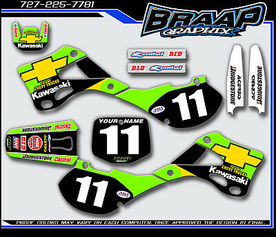 KAWASAKI KX125-KX250 1999 2000 2001 2002 GRAPHICS  DECAL KIT MOTOCROSS CHEVY , used for sale  Shipping to South Africa