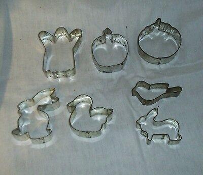 Vintage Metal Cookie Cutters Lot of 7 Halloween Thanksgiving Easter Spring - Metal Cookie Cutters Halloween