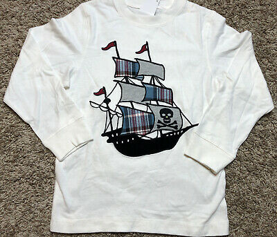 NWT GYMBOREE Boy White Long Sleeved Shirt PIRATE SHIP Appliqué 5 *20 Pirate Ship Applique