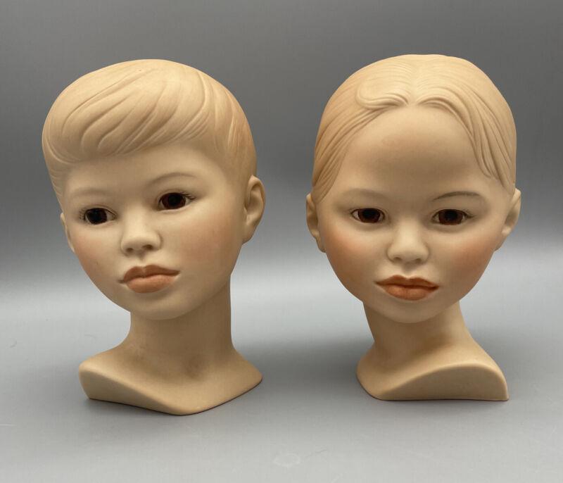 VINTAGE Holland Mold Boy & Girl Figurine SET 2 Head Busts Ceramic PAIR 1980 80