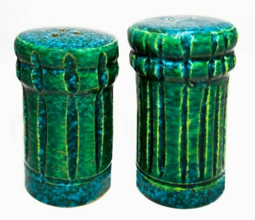 BITOSSI ITALY VIRIDIAN GREEN/CERULEAN BLUE/YELLOW TERRACOTTA SALT/PEPPER SHAKERS