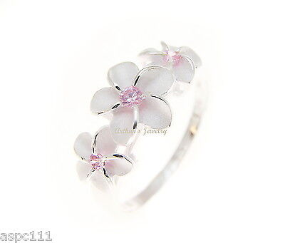 (925 STERLING SILVER 3 HAWAIIAN PLUMERIA FLOWER RING PINK CZ)