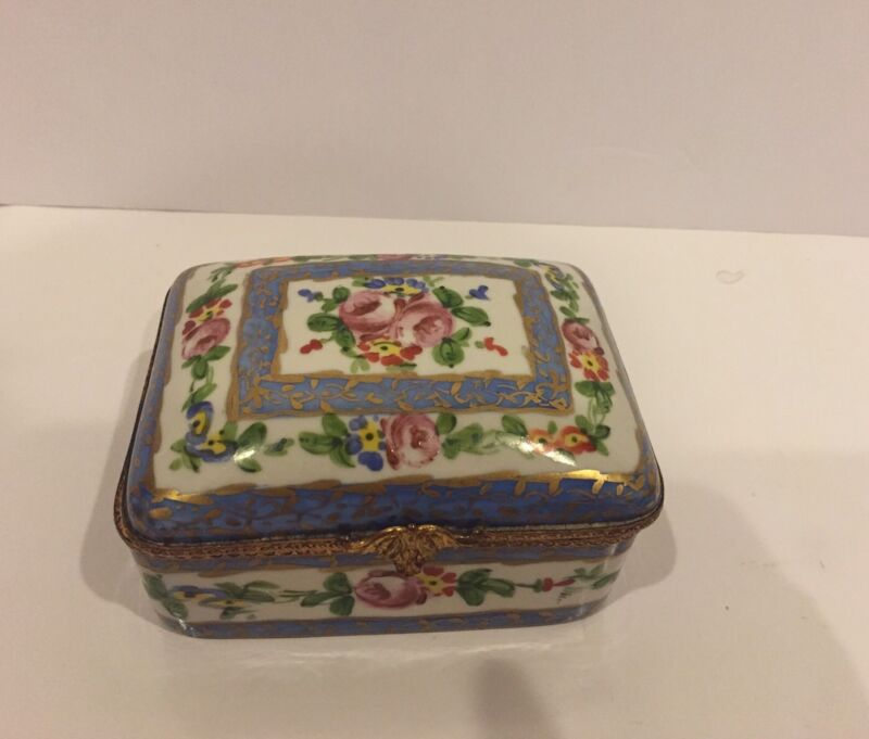 """Antique Sevres-Style French Hand-Painted  Floral Porcelain Box  5"""""""