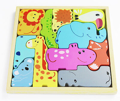 Quality Wooden Animals Play-Set Educational Pre-Kindergarten Toddler Puzzle Toy - Wooden Animals