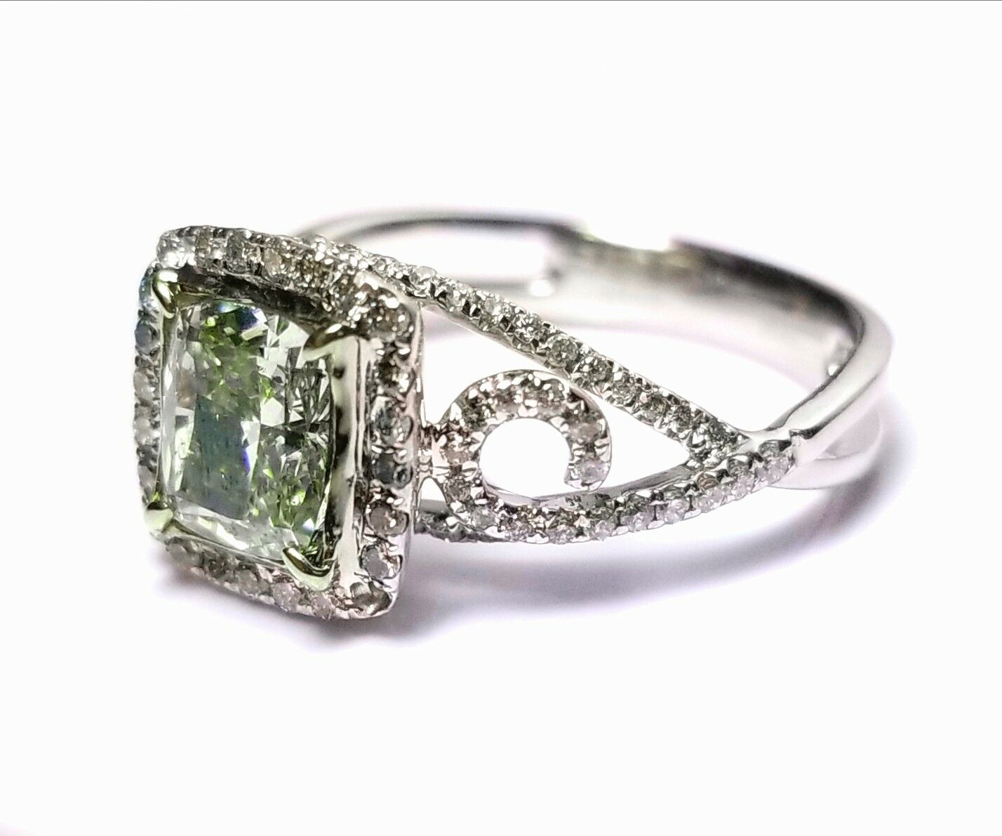 1.73ct Natural Fancy Green Diamond Engagement Ring GIA 18K White Gold Cushion 1
