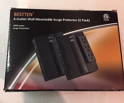[2 Pack] Bestten 6-Outlet Wall Mountable Surge Protector (1000 Joule Rating) - Joule Rating 6 Outlet