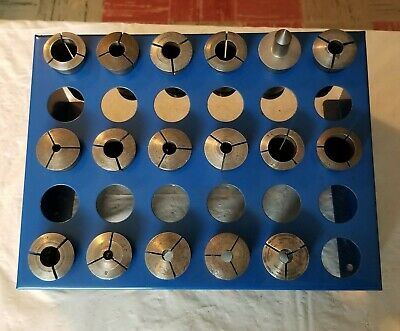 Vintage Machinist Collet Lot Of 17 Includes Rack Industrial Surplus