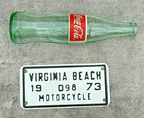 Virginia Beach 1973 DEALER / DEALERSHIP Motorcycle License plate tag # D98