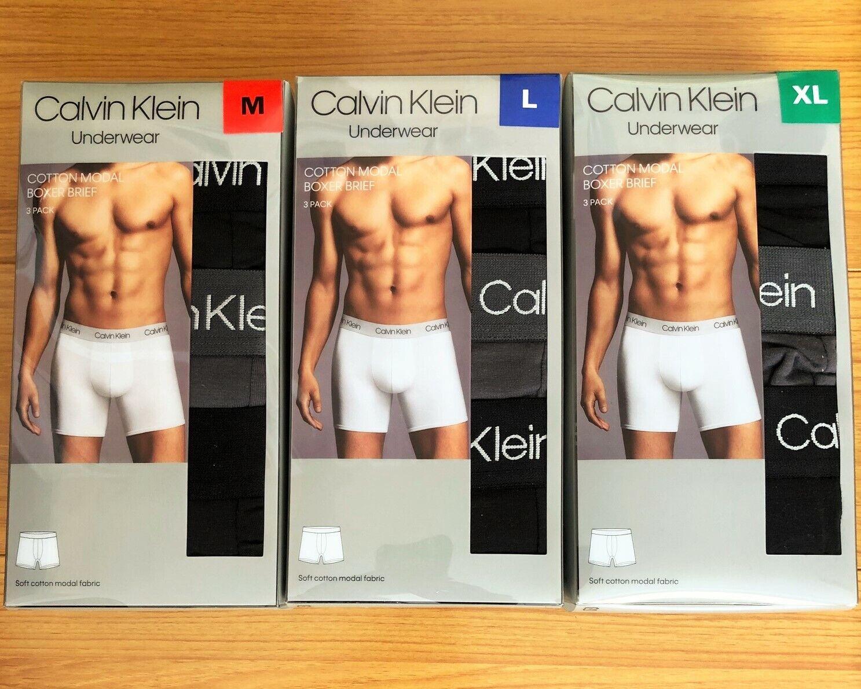 New 3-Pack Calvin Klein Cotton Modal Boxer Briefs Underwear,
