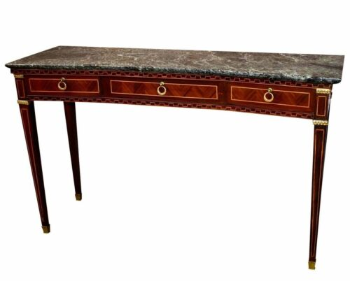 Vintage Italian Inlaid Marble Top Regency Style Three Drawer Console Table