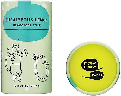 Baking Soda Free Deodorant Stick  Meow Meow Tweet  3 Oz Lemon Eucalyptus