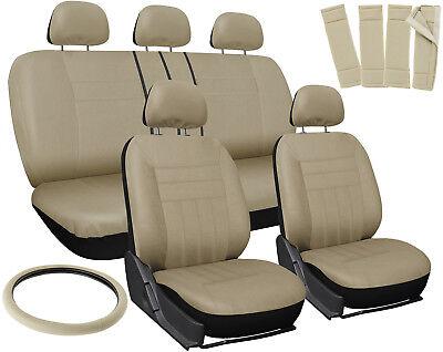 Car Seat Covers Beige 17pc Full Set for Auto w/Steering Wheel/Belt Pad/Head Rest