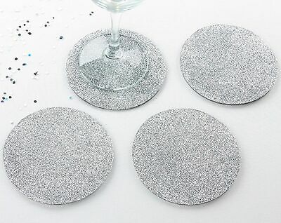 Wedding Favor Coasters (Silver Glitter Coasters Set Wedding Engagement Shower Party Favor Gift)