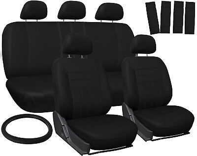 Car Seat Covers for Hyundai Sonata Solid Black Steering Wheel/Belt Pad/Head Rest