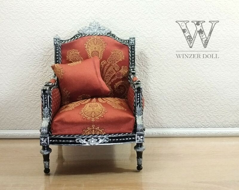 1/4 classic armchair black Louis XVI style for dolls 16 inch, BJD furniture