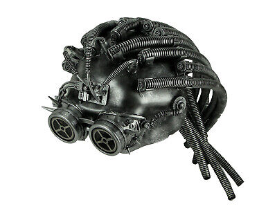Metallic Steampunk Cyborg Helmet Halloween Mask with Gear Goggles, Silver