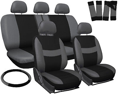 Car Seat Covers Gray Black 17pc Set for Auto w/Steering Wheel/Belt Pad/Head Rest