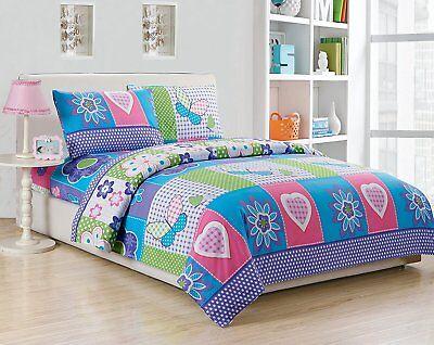 Fancy Linen Twin, Full Size Sheet Set Butterfly Purple Pink Turquoise Flower