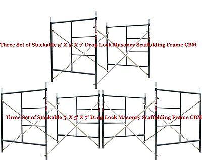 "3 Set of new Flip Lock 5' x 5'1"" x 7' Masonry Scaffolding Box Frame CBM Scaffold"