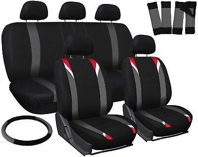 Truck Seat Covers for Dodge Ram Red Gray Black Steering Wheel/Belt Pad/Head Rest