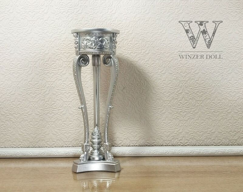 Baroque vase stand for dolls, silver, 1/4 scale, bjd furniture