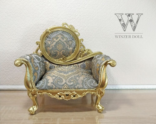 1/4 classic armchair, light gold baroque, for dolls 16 inch, BJD furniture