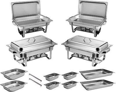 4x Chafing Dish Starter Set Speisewärmer Warmhaltebehälter Rechaud - ZORRO