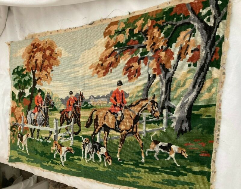 """Large Vintage Needlepoint Featuring Horses,  Riders And Hunting Dogs / 29 x 19 """""""
