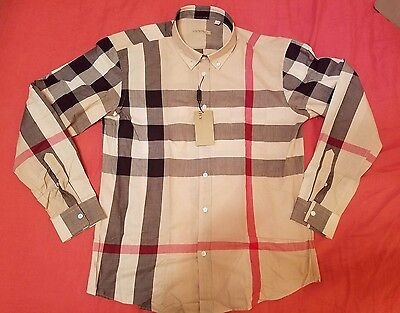 Burberry Brit Camel Check Mens Casual Shirt Size L Runs Small Great Gift