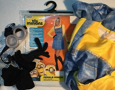 NEW MINIONS KEVIN Womens Halloween Costume Large 10 12 14 Goggles Suit Dress Set