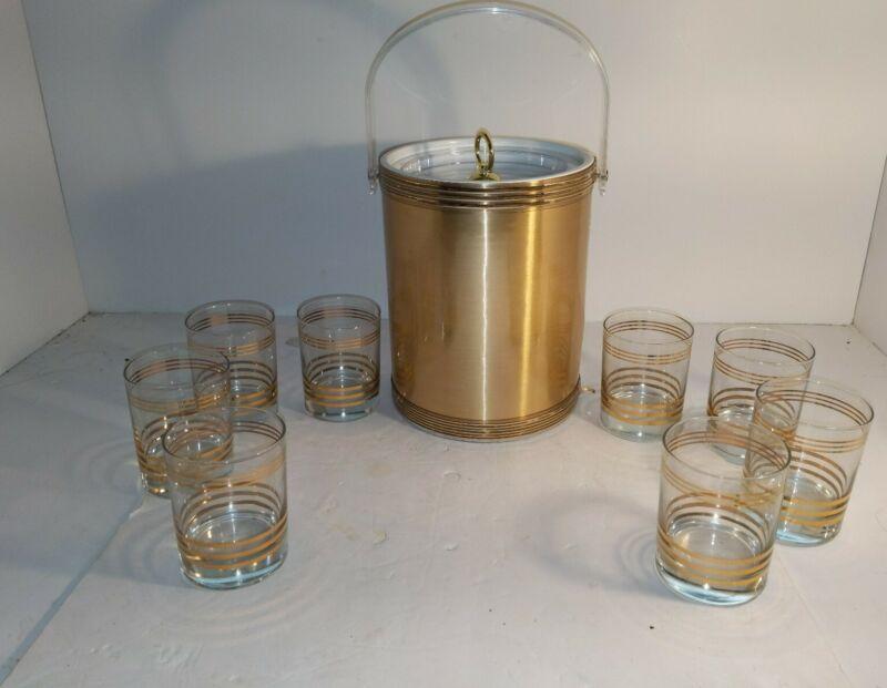 Custom Deco 9 Piece Entertainment Set, Ice Bucket, 8 Glasses, Gold Color