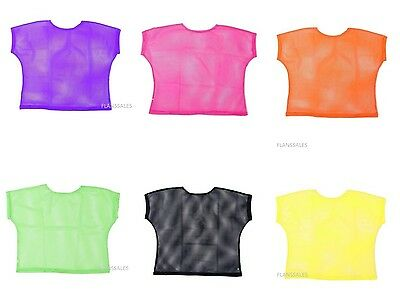 Neon Mesh top 80s Punk Mod Ladies Fancy Dress Bright Mesh Top. - Top Fancy Dress Costumes