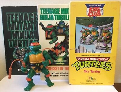 Teenage Mutant Ninja Turtles The Movie & TMNT II VHS + Michaelangelo Figure - Michael Angelo The Ninja Turtle