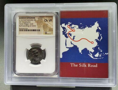 100 ~ 200 AD Kushan Kingdom Soter Megas Tetradrachm CH VF NGC Ancient Silk Road
