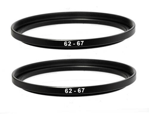 (2 Pack) 62-67mm 62 mm to 67 mm Metal Step Up Lens Filter Ring Adapter US Seller