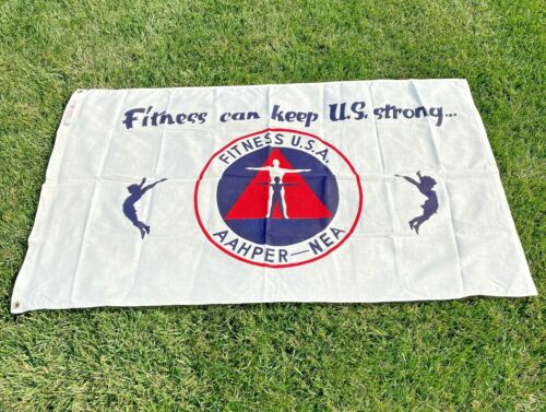 Dettras Flag AAHPER-NEA 3' X 5' Cloth Fitness Can Keep US Strong USA Vintage1291