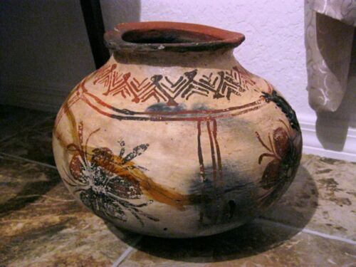 Antique OLLA POT Authentic Native American Indian Artifact, Ochre Paint 10hX13w