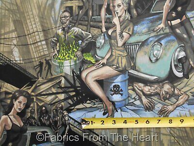 Girls Zombie (Zombie Apocalpse Pin Up Girls Hot Rod Cars in Teal BY YARDS AH Cotton)